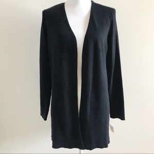 Charter Club Open Front Cardigan Sweater Black MP